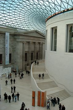 The British Museum in London ~ was opened by Queen Elizabeth II in December 2000, it is the largest covered square in Europe. Architect Sir Norman Foster