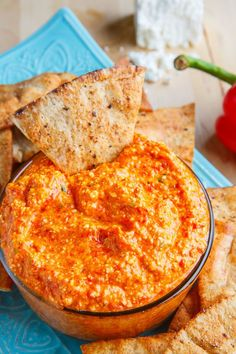 A Greek style roasted red pepper and feta dip with extra kick from a roasted jalapeno pepper and a flavour boost from sun-dried tomatoes! Htipiti (Greek Roasted Red Pepper and Feta Cheese Dip) - Htipiti (Greek Roasted Red Pepper and Feta Cheese Dip) Cheese Dip Recipes, Healthy Dip Recipes, Best Appetizer Recipes, Feta Dip, Greek Cooking, Greek Dishes, Roasted Red Peppers, Roasted Red Pepper Sauce, Mediterranean Recipes