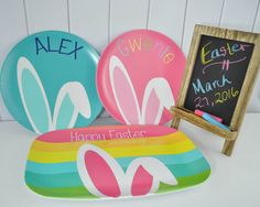Personalized Bunny Ears Easter Plate by TinTreeGifts on Etsy
