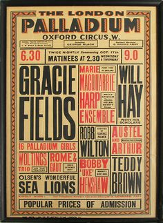 Variety show poster for Gracie Fields at the London Palladium