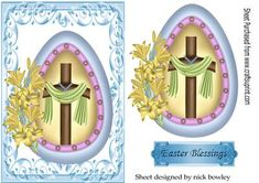 A Pretty egg holding a cross with shawl and daffodils on Craftsuprint - Add To Basket!