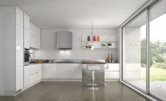 Cool Minimalist White Kitchen With A Summer Feel: Cool Minimalist White Kitchen With A Summer Feel With White Stools Color And Sliding Glass Door Design Kitchen Doors, Kitchen Cabinets, Kitchen Appliances, Island Kitchen, White Kitchen Inspiration, White Stool, Condo Living, Kitchen Collection, Cool Kitchens