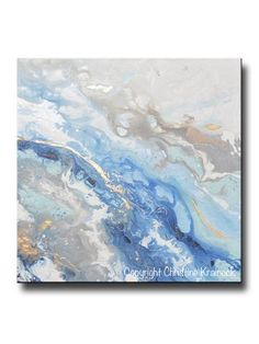 ORIGINAL Art Modern Blue White Abstract Painting Marbled Blue Grey Gold Leaf Coastal Decor Wall Art - Christine Krainock Art - Contemporary Art by Christine - 1