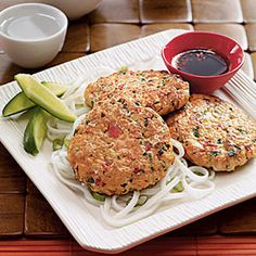 Sweet and Spicy Salmon Burgers #myplate #protein #grains #vegetables