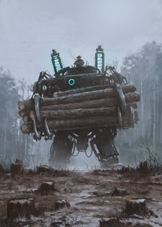 With his retro-futuristic illustrations, the artist Jakub Rozalski, aka Mr. Werewolf, imagines a dark and scary past, populated by war machines and giant robot Arte Sci Fi, Sci Fi Art, Diesel Punk, Fantasy Kunst, Fantasy Art, Sci Fi Kunst, Science Fiction Kunst, Arte Cyberpunk, Howl At The Moon
