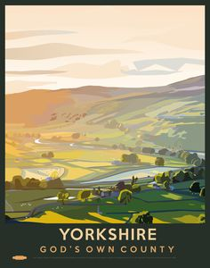 The Yorkshire Dales is an upland area of the Pennines in Northern England in the historic county of Yorkshire, most of it in the Yorkshire Dales National Park created in 1954.This vintage style...