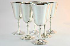 6 Silver Plate Goblets, 6 Silverplate Goblets, 6 Silver Goblets, 6 Silver Plate Wine Goblets, Set of 6 Goblets, Italian Silver Wine Glasses