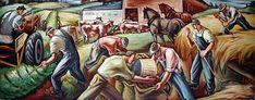 This mural depicting agricultural workers was painted by Carl Morris in 1942 after he won a WPA Federal Arts Project mural competition in 1941. It was installed in the lobby of the Eugene Post Office in 1943.