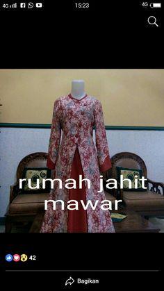 Batik Fashion, Abaya Fashion, Blouse Patterns, Blouse Designs, Dress Batik Kombinasi, Batik Muslim, Muslim Dress, Brokat, Batik Dress