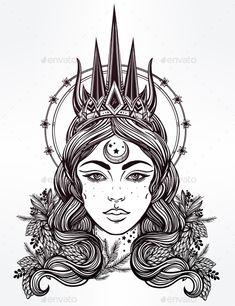 Fantasy Nothern Queen Vector Illustration EPS