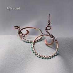 Wire earrings hoop earrings wire jewelry gift for her by Artual