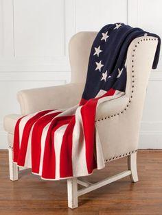 Betsy Ross Flag Throw   Patriotic Knit Blanket