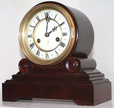 9ad30fc6f68 STUNNING ANTIQUE ROUND TOP HAC (JUNGHANS) GERMAN MANTEL CLOCK W  PORCELAIN  DIAL.