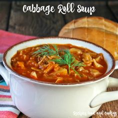 Cabbage Roll Soup Ground beef with cabbage and onions in a tomato soup base.