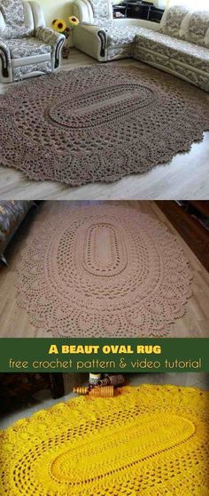 Crochet Afghans Patterns A Beaut Oval Rug [Free Crochet Pattern and Video Tutorial]A Beaut Oval Rug [Free Pattern] Crochet Doily Rug, Crochet Carpet, Crochet Rug Patterns, Crochet Diy, Crochet Amigurumi, Crochet Home, Crochet Crafts, Crochet Stitches, Crochet Projects