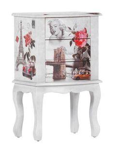 Kommode Paris - Diese Kommode besticht durch die sanft geschwungenen Formen und den verspielt-floralen Motivdruck. Das macht die Kommode bestimmt zum optischen Highlight in Ihrem Zuhause