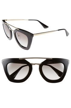 Free shipping and returns on Prada 49mm Retro Sunglasses at Nordstrom.com. A polished metallic browline stands out on the vintage-chic profile of scene-stealing gradient-lens sunglasses.