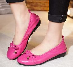 Women's #pink leather shoe #loafer easy slip on butterfly lace decorated on vamp, Low cut, Round toe design.