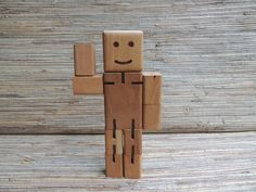 Vintage Posable Wooden Robot Man Toy by RedoneAndVintage on Etsy