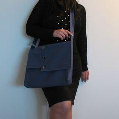 Large Messenger Bag - steel blue cotton cross body for men and women - work messenger bag - school messenger - sisoi messenger