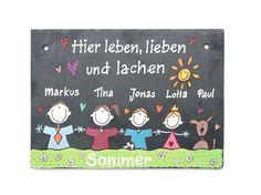Tür- & Namensschilder - Schiefer Türschild Namensschild Comicfamilie II - ein Designerstück von Schieferheld bei DaWanda