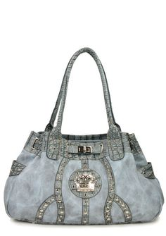 Lt Blue Western Rhinestone Celebrity  Faux Leather Crown Buckle Handbag Purse | Clothing, Shoes & Accessories, Women's Handbags & Bags, Handbags & Purses | eBay!
