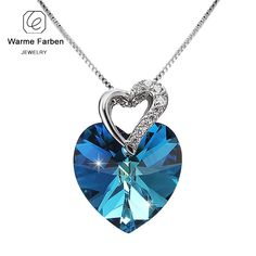 WARME FARBEN Crystal from Swarovski Women Necklace Fine Jewelry Blue Heart  Crystal Pendant Necklace Valentine s day 0975ef9feb95