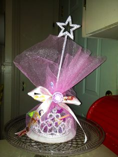 Princess party favors ...love the idea of using tulle instead of a bag...