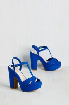 Stopped Bold in Its Tracks Heel in Blueberry. You envisioned long, confident strides in these cobalt peep toes. Royal Blue Heels, Blue Shoes, Royal Blue Wedding Shoes, Blue Pumps, Wedding Heels, Chunky Heel Shoes, Peep Toe Shoes, Wedge Shoes, T Strap Heels