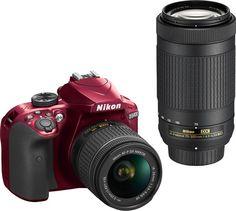 Nikon - D3400 DSLR Camera with AF-P DX 18-55mm G VR and 70-300mm G ED Lenses - Red