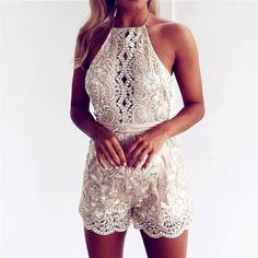Women Lady Stylish Outfits Gold Lace Spliced Backless Tie-up Romper – Lupsona