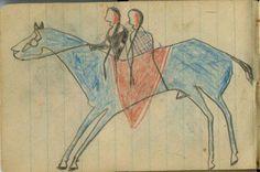 Plains Indian Ledger Art: Wild Hog Ledger-Schøyen - COURTING: Man and Woman Ride a Blue Stallion