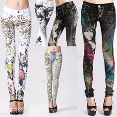 2015 neue Stilvolle Phantasie Gothic Jeans Frau, frauen Gekritzel Blumendruck Gemalt Jean, Denim Skinny Slim Fit Jeans Zeichnen Hosen(China (Mainland))