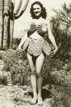 Vintage Photo: Cactus bikini from the For me, its an occupational hazard. I am often pricked by cactus. Thankfully, not in such delicate areas. Vintage Photographs, Vintage Images, Funny Vintage Pictures, Mode Bizarre, Pin Up, Photo Vintage, Le Far West, Mode Vintage, Weird Vintage