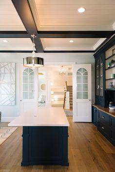 The darker blue is Benjamin Moore Van Deusen Blue Interior, Interior Inspiration, Kitchen Ceiling, Home, Home Renovation, Luxury Interior Design, Ceiling Fan In Kitchen, Interior Paint Colors, Interior Design