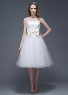 Wonderful Polka Dot Tulle Jewel Neckline Knee-length A-line Wedding Dr – Sassymyprom Tea Length Wedding Dress, Wedding Dresses Plus Size, Bridal Wedding Dresses, Cheap Wedding Dress, Dream Wedding Dresses, Wedding Reception, Dress And Sneakers Outfit, Long Formal Gowns, Long Cocktail Dress