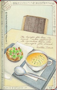 2014_04_09_soramamepan_01_s Fava beans ,bacon and cheese on bread and pumpkin soup.  Yummy!  for this drawing I used: Faber castell polychromos Holbein artists colored pencils Moleskine sketchbook  © Belta(WAKABAYASHI Mayumi )