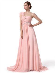 A-line Strapless Sweetheart Floor-length Chiffon Bridesmaid Dress/Evening Dress