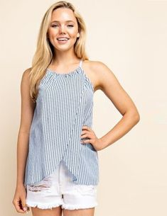 Blue & White Striped nursing friendly top featuring sleeveless tank, a v-neck surplice top and tie detail at waist. Shop now! Breastfeeding Shirt, Delivery Gown, Skin To Skin, Surplice Top, Nursing Tops, House Dress, Mom Outfits, Get Dressed, Baby Dress
