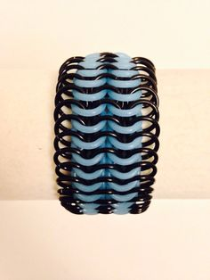"""1.25"""" Black Anodized Aluminum  & Glow In The Dark Light Blue Rubber Stretch Chainmail Bracelet - Mens Womens Unisex Nickel Free by JohnsChainmailShop from John's Chainmail Shop. Find it now at http://ift.tt/2e85lWV!"""
