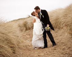 Happy couple share a kiss in the rough Golf Wedding, Destination Wedding, Wedding Planning, Ireland Wedding, Irish Wedding, Spring Weddings, Real Weddings, Trump International, Wedding Places