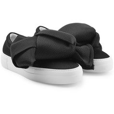 Joshua Sanders Bow Slip-On Sneakers (690 SAR) ❤ liked on Polyvore featuring shoes, sneakers, black, slip-on shoes, slip-on sneakers, perforated slip on sneakers, perforated sneakers and black slip-on shoes
