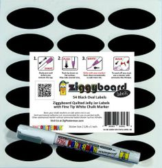 Ziggyboard Chalkboard Jelly Jar Quilted Crystal Canning Labels with Fine Tip White Chalk Marker 54 Oval Shape Stickers by ImageAbility, http://www.amazon.com/dp/B00CK99R4O/ref=cm_sw_r_pi_dp_n4zhsb1RQNBJF