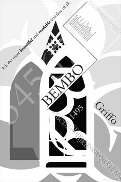 Bembo was cut by Francesco Griffo, Stanley Morison supervised the design of Bembo for the Monotype Corporation in 1929. ----------------------------Bembo Typography Poster by Shauna Goldman