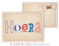 #Hoera #Hurray #Kaart #Vintage look #Stoer #Letters #Gefeliciteerd #Vrolijk