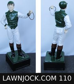The traditional lawn jockey statue is taking back America's boring suburban neighborhoods one yard at a time.   Your lawn is next!   Want an REAL METAL jock professionally painted using 2 coats of high gloss enamel like this one shipped directly to your mansion in about 3 weeks?   Visit lawnjock.com for a price quote today and reference custom example #110.