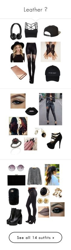 """Leather "" by trf0204 ❤ liked on Polyvore featuring Brixton, Beats by Dr. Dre, RHYTHM, Lime Crime, Carla Amorim, Once Upon a Time, Charlotte Olympia, Monki, Express and Forever 21"