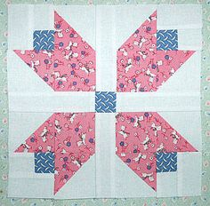 "Free Easy Quilt Block Patterns | Patchwork Tulip Quilt Block Pattern - 9"" Blocks"