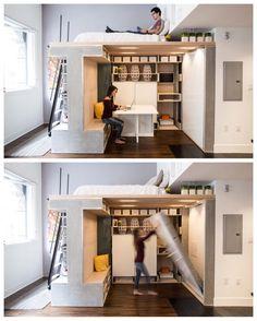 Espaço multifuncional onde os 46 metros quadrados podem se transformar em…