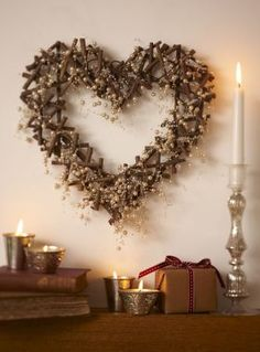 Tch090 Twig & Pearl Heart Wreath - £29.99 from The Contemporary Home